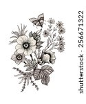 hand drawn garden flowers with... | Shutterstock . vector #256671322