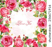 frame of watercolor roses and... | Shutterstock . vector #256671916