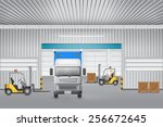 vector of cargo container and... | Shutterstock .eps vector #256672645
