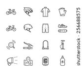 bicycle icons and biking icons | Shutterstock .eps vector #256688575