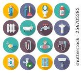 plumber service tools kit flat...   Shutterstock .eps vector #256705282