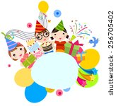 birthday children | Shutterstock .eps vector #256705402