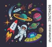 cartoon space illustration set. ... | Shutterstock .eps vector #256724608