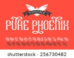 pure phoenix typeface with bird ... | Shutterstock .eps vector #256730482