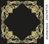 ornament gold pattern frame on... | Shutterstock . vector #256749715