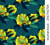 seamless vintage graphic floral ... | Shutterstock .eps vector #256756705