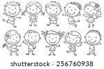 ten happy cartoon kids  black...
