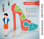 shoe puzzle info graphic design ... | Shutterstock .eps vector #256761262