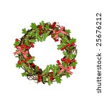 wreath with red berries and bows | Shutterstock . vector #25676212