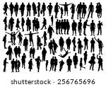 people silhouettes set | Shutterstock .eps vector #256765696
