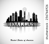 dallas silhouette. cities... | Shutterstock .eps vector #256766926