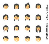 hairstyles emotions flat icons  | Shutterstock .eps vector #256776862