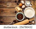 baking chocolate cake in rural... | Shutterstock . vector #256780432