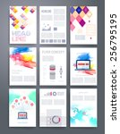 set of infographics  flyer and... | Shutterstock .eps vector #256795195