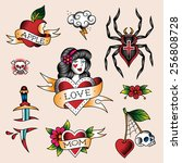 set of  color tattoos in... | Shutterstock .eps vector #256808728