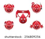 cartoon smiling blood icons set | Shutterstock .eps vector #256809256