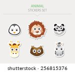 animal stickers. vector... | Shutterstock .eps vector #256815376