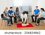 first aid instructor showing... | Shutterstock . vector #256824862