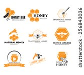 set of honey and bee logos... | Shutterstock .eps vector #256843036