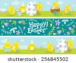 happy easter banners. cute... | Shutterstock .eps vector #256845502