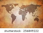 vintage map of the world | Shutterstock . vector #256849222