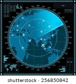 blue radar screen with planes...   Shutterstock .eps vector #256850842