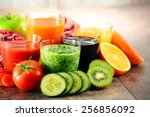 glasses of fresh organic... | Shutterstock . vector #256856092