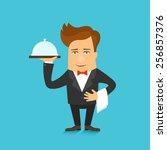 waiter serving a meal under a... | Shutterstock .eps vector #256857376
