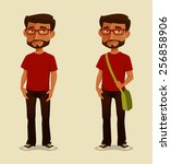 young indian guy in casual... | Shutterstock .eps vector #256858906
