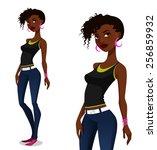 cool african american girl in...   Shutterstock .eps vector #256859932