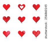 vector of red heart set. love   ... | Shutterstock .eps vector #256860145