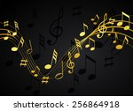 gold music notes on a solid... | Shutterstock .eps vector #256864918