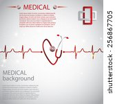 abstract medical cardiology ekg ... | Shutterstock .eps vector #256867705