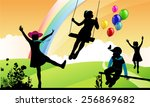 girl shakes on a swing ... | Shutterstock .eps vector #256869682