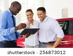 african car dealer explaining... | Shutterstock . vector #256873012