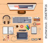 office workspace. icon... | Shutterstock .eps vector #256878916