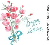 birthday card with watercolor  ... | Shutterstock .eps vector #256881502