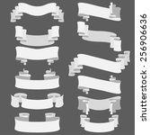 set of white vector ribbons ... | Shutterstock .eps vector #256906636