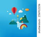 futuristic landscape with... | Shutterstock .eps vector #256912156