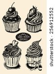set of hand drawn cupcakes | Shutterstock .eps vector #256912552