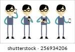 asian man holding mobile device. | Shutterstock .eps vector #256934206