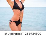 sexual young girl with a... | Shutterstock . vector #256934902