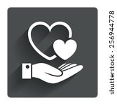 hearts and hand sign icon. palm ...