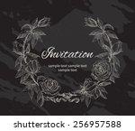 roses wreath. rose flower... | Shutterstock .eps vector #256957588