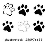grunge pet   dog and cat   paw... | Shutterstock .eps vector #256976656