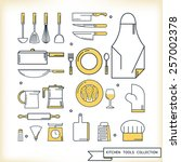kitchen tools collection  flat... | Shutterstock .eps vector #257002378