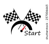 racing with checkered flags | Shutterstock .eps vector #257006665