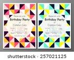 vector set of invitation card...   Shutterstock .eps vector #257021125