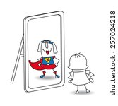 karen super girl in the mirror. ... | Shutterstock .eps vector #257024218