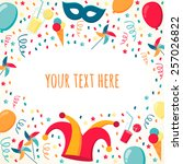 template with confetti  ribbons ... | Shutterstock .eps vector #257026822